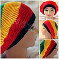 Whirl Knit Rasta Jamaican Hat / Baggy Slouchy Warm Knitted Hat Cap