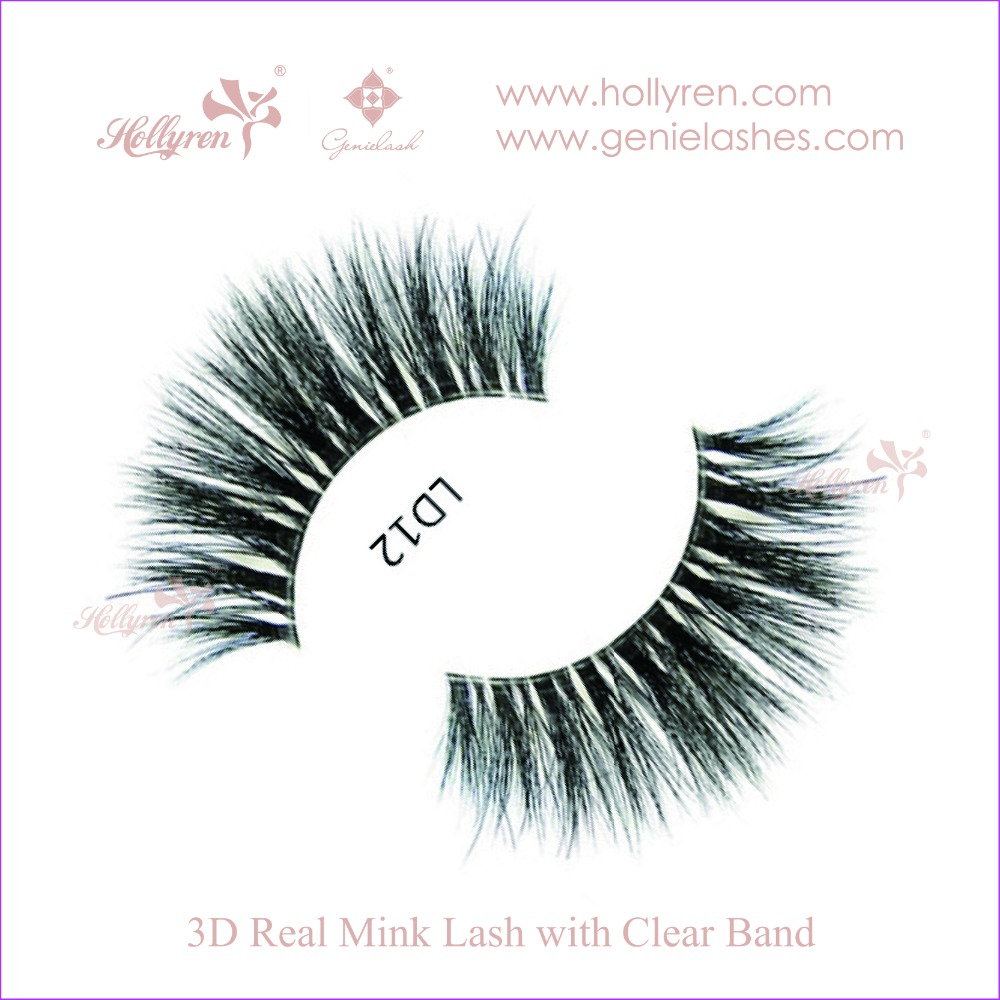 Hollyren Luxury 3D Real Mink Fur Strip Eyelashes with Clear Invisible Band