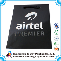 Black matte promotional paper shopping bags laminated