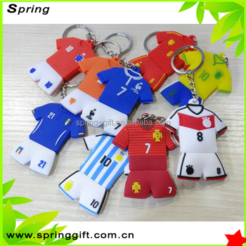 custom 3d football team key chain soft pvc rubber keychain