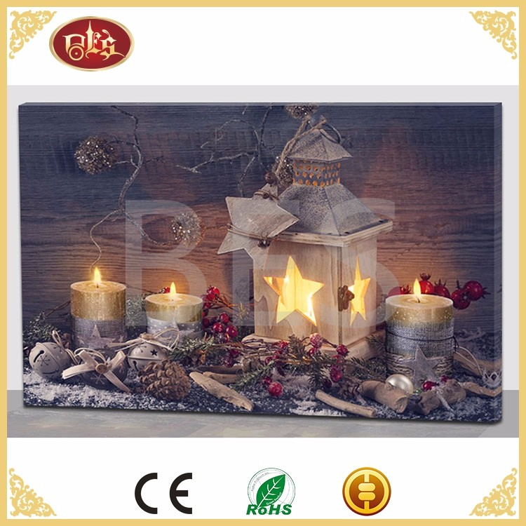 Christmas candle LED canvas painting, lighted canvas artwork for sale wholesale