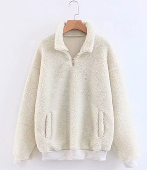 Quarter zip sherpa fleece cream hoodie women solid plain oem teddy pullover sweatshirt