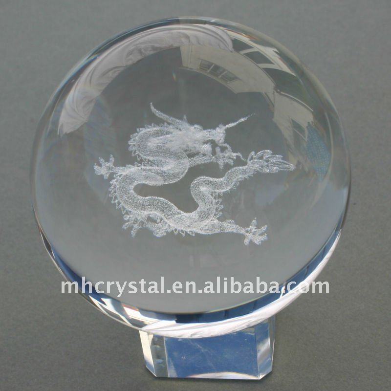 3D Laser Engraved Chinese Dragon Optical Crystal Ball MH-Q0013