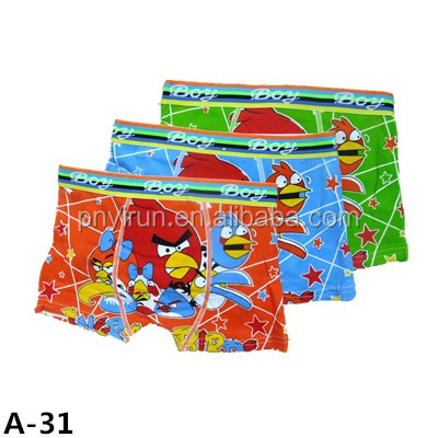 Custom Full Print Cartoon Design Angry Bird Boys Boxer Shorts for Children