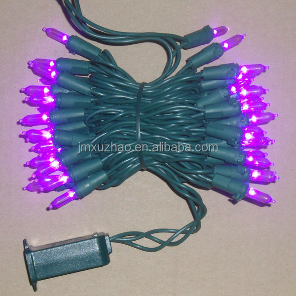 UL 50L 5M Full Wave 3mm Purple color Green Wire Mini LED christmas Lights