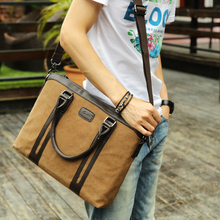 European man canvas handbag briefcase office work shoulder sling hand bag for men