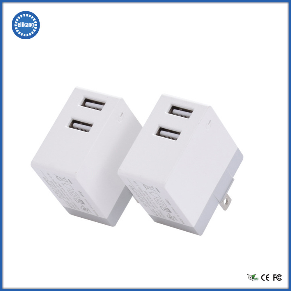 CE, RoHS and FCC approved ABS + PC Dual USB Wall Charger for Consumer Electronics