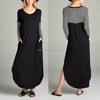 7a6f9033845 Ladies Casual Maxi Dresses Pictures Long Sleeve 95% Rayon 5% Spandex Stripe  Split-
