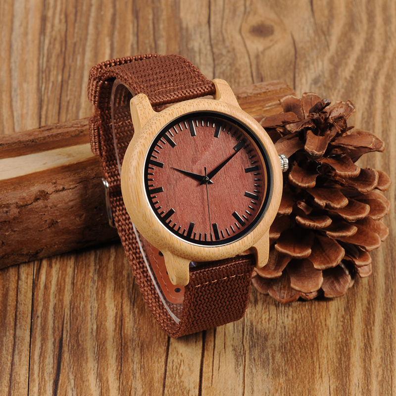 BOBO BIRD 2017 Red Ribbon Band Couples Quartz Watches Custom Wood Watch with Nylon Strap
