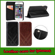 2015 New product cross pattern real leather case for iphone 6 case