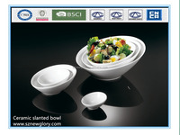 Factory promotion ceramic slanted salad bowl with different size