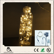 LED copper wire 10m 100leds warm white remote controlled dimmable fairy string lights silver cable Christmas party decoration