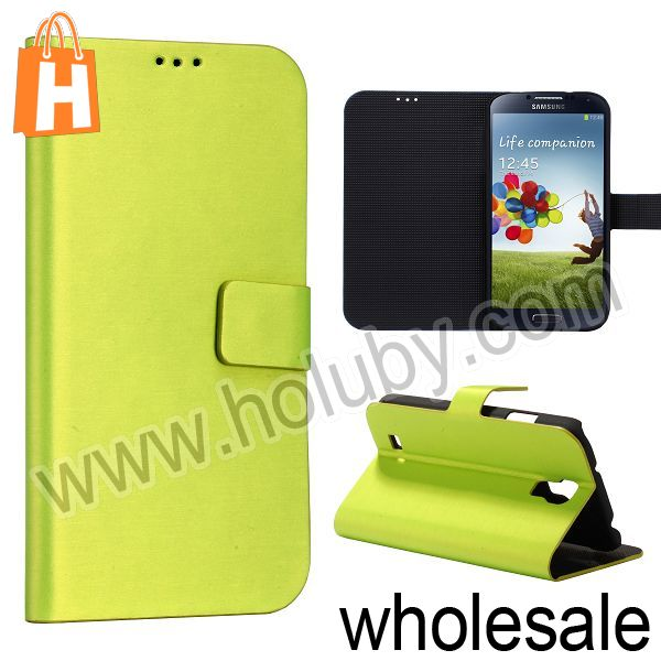 New Arrival Wallet Stand Flip Brushed Leather Case for Samsung Galaxy S IV 4/ i9500/I9505 (Green)