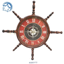Home Decoration Nautical Antique Rudder Wall Clock Wholesale