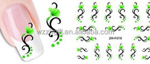 Green Flower Design Watermark 3D Nail Art Sticker Manicure Nail Polish Decals