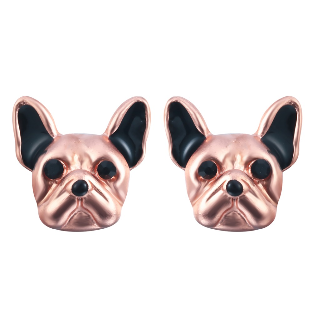 Lovely 3d Fake Gauge French Bull Dog Puppy Face Animal Earrings Cute Jewelry Gift for Women and Girls