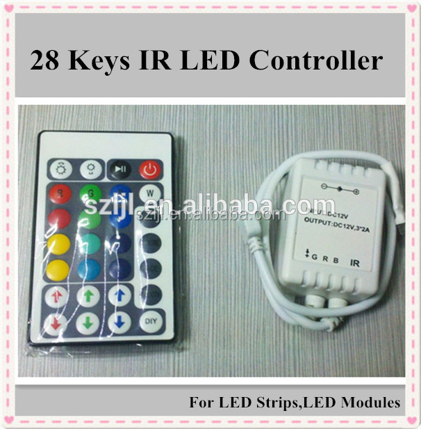 DC12V IR RGB controller 28 Keys Remote for LED flexible strip/module
