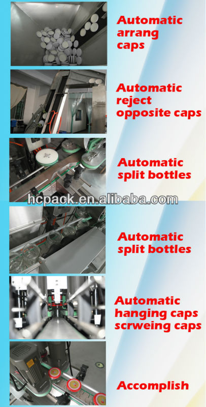Three or four cap heads automatic glass jars cap screwing machine