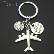 Earth Airplane Keychains No Matter Where Pendant Travel Keyring Friendship Best Friend Jewelry Diy Handmade