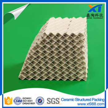 Ceramic structured packing for packing scrubber tower