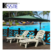 Swimming pool beach sun bed plastic folding chaise lounge chair with wheels