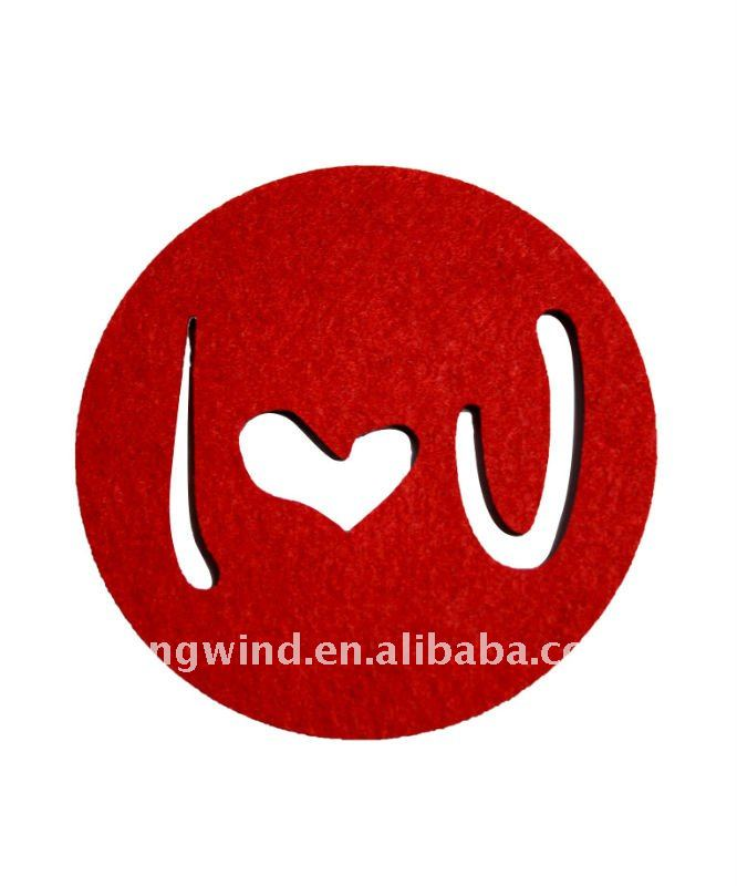 Laser cut out Sweet love design round felt coaster