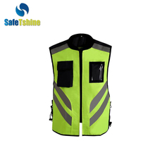 Good price 100% polyester fabric safety reflex vest with pockets