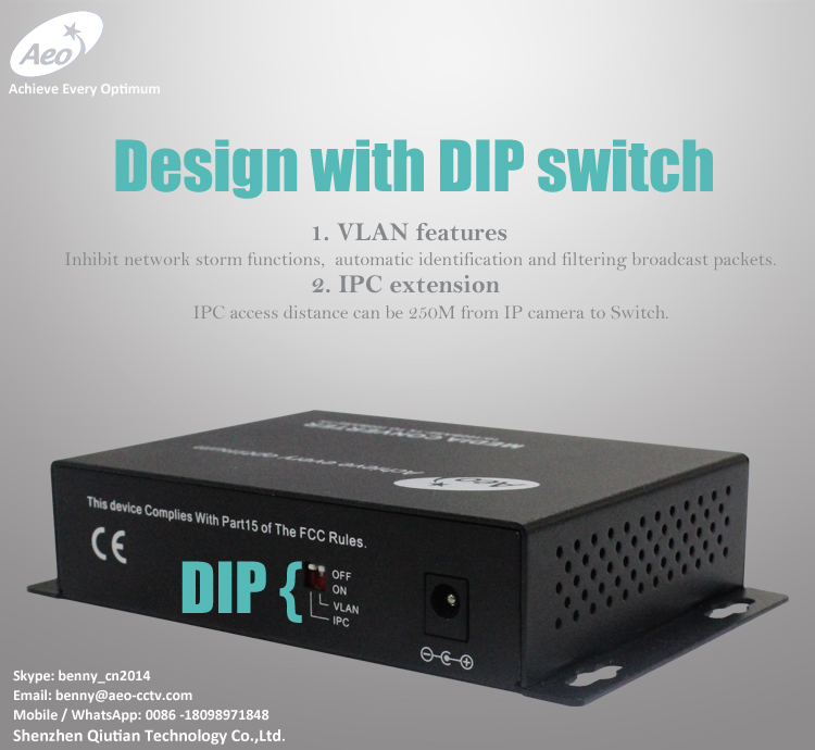 Popular VLAN features + IPC extension to 250meters CCTV POE switch