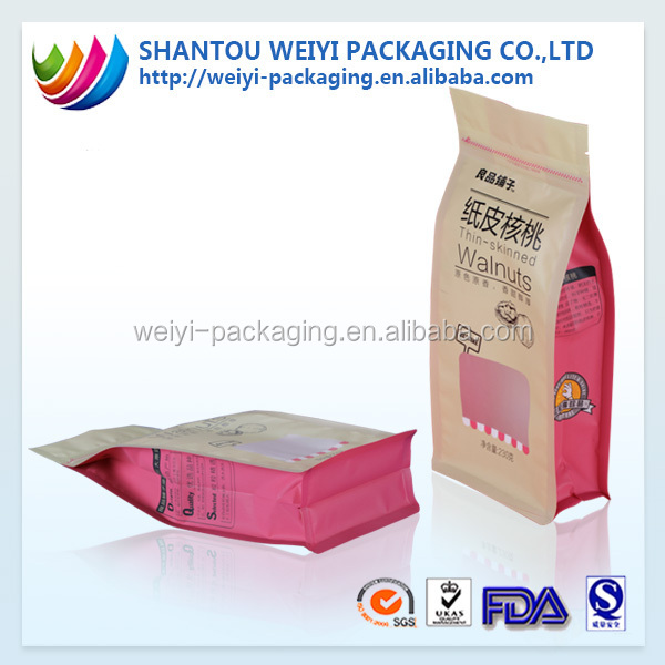 2016 flat bottom Stand up zip pouch/flat bottom food packaging bag