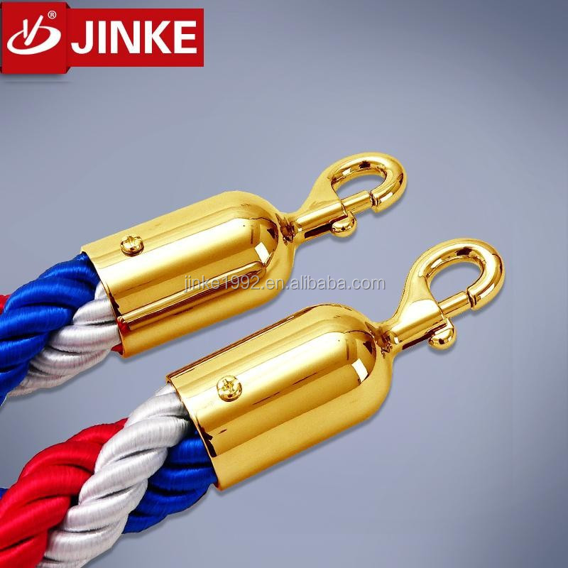 Color Customized Stanchion Post Rope, Stainless Steel Rope Snap Hook Ends