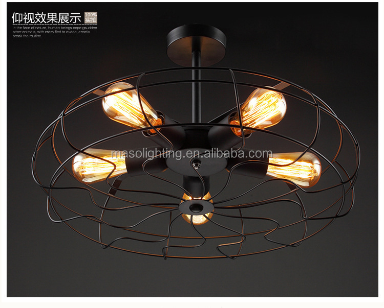 Hot selling LED 5 Heads Hanging pendant light iron fan ceiling lamp for home modern decoration