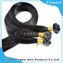 Really russian flat tip hair extensions #1B color professional keratin hair extension making machine