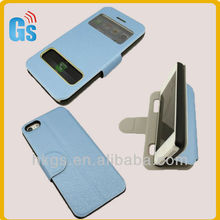 Top sale double visual window stand flip leather material case for iphone 5C with magnetic