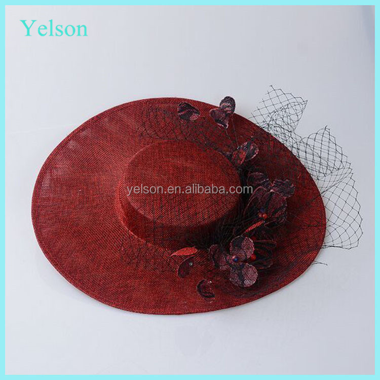New arrival wedding ladies party dress hat/Cotton Material Red Party Hat