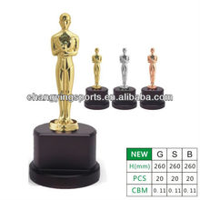 Oscar Metal Trophy Oscar Statue Awards Wooden trophy Base 001