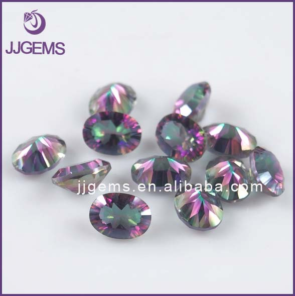 Natural Loose Oval Shape Concave Cut Mystic Topaz