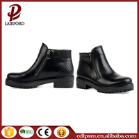 Hot sale Woman comfortable lady shoes design black durable patent leather flat side zipper ankle boots
