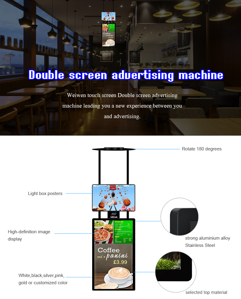 43 inch ceiling mounted dual screen hanging android network digital signage media player for shopping mall