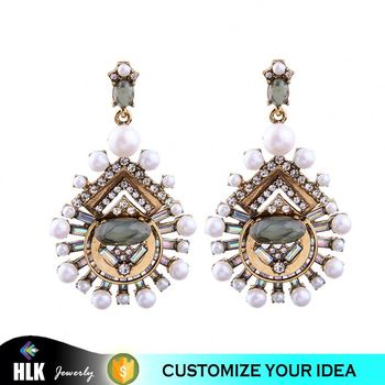 Wholesale fashion jewelry water drop shape pearl earrings for women
