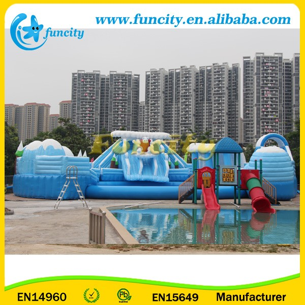 Outdoor Inflatable Water Park With Pool, Large Inflatable Park Slide