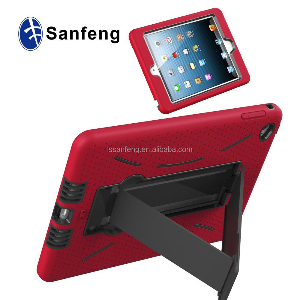 Hard Plastic Soft Silicon Robot Stand Case For Ipad Mini 4/Tablet Case For Ipad Mini 4