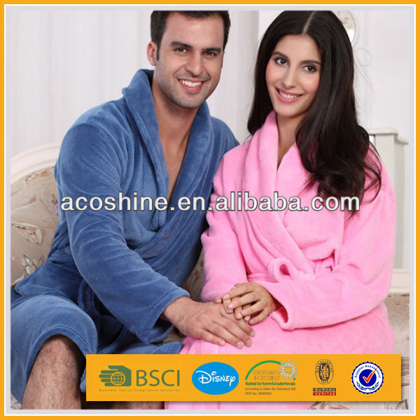 2014 fashion couples polyester coral fleece bathrobe