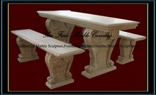 Handcarved Wooden Sandstone Benches