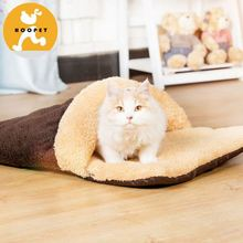 Brown slipper plush dog bed cushions and cat sleeping bag