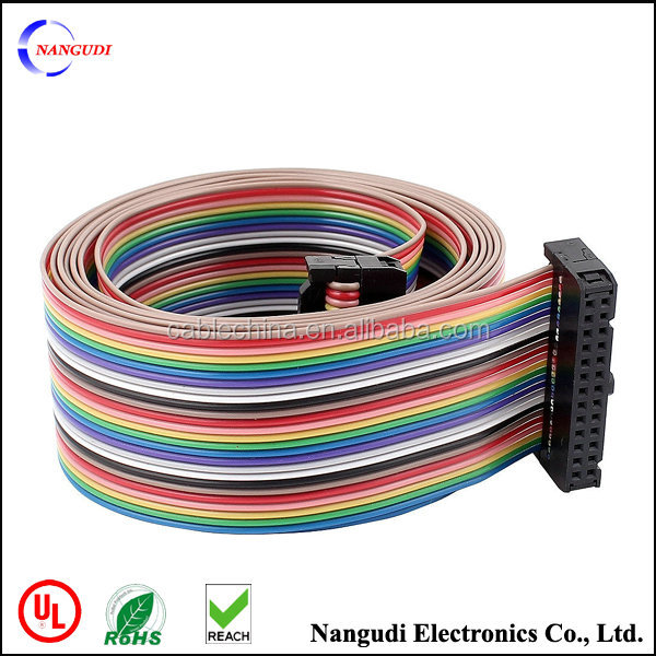 2.54mm Pitch 20 Pin Connector Rainbow Wire IDC Flat Ribbon Cable