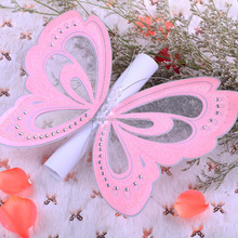 Ideal Products 2015 Available Die Cut Wedding Scroll Butterfly Invitation Pink Gold