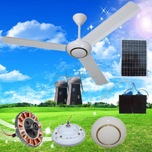 solar system (solar) electric ceiling fan with led light Greenhouse 60 inch with LED light air cooler solar ceiling