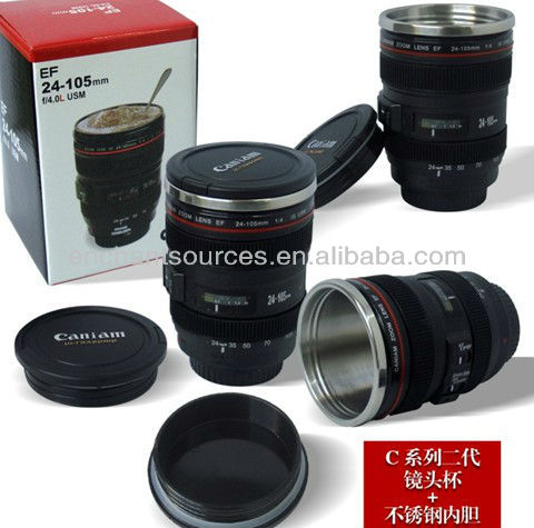 Top seller caniam lens mug camera lens travel mug