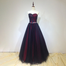 Vintage Strapless Black Red Beaded Applique Floral Long Tulle Lady Formal Party Evening Dress