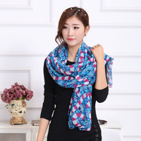 Flower Printed Scarf, Scarf Polyester Summer, Cheap Wholesale Shawls